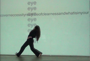 The weight of words is a performance-installation that exists at the meeting point of written text and the moving body. The piece takes place between a dancer, a visual artist and a poet together in a room.