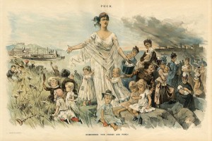 """REMEMBER THE FRESH AIR FUND"", published in PUCK July, 1887. Illustration by - Charles Jay Taylor (1855-1929)"