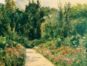 Max Liebermann - Gartenbeete mit Weg und Blumen