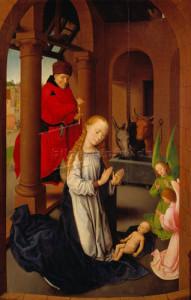 Hans Memling, Christi Geburt, linker Flügel des Dreikönigsaltars, um 1470, Madrid