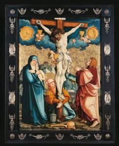 Meister von Meßkirch: Die Kreuzigung Christi (Detail), um 1530