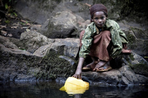 A girl collects water supplied by Bale Mountains National Park in south-central Ethiopia
