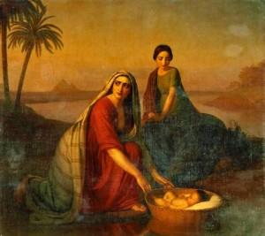 Da hatte wohl JHWH auch seine Hand im Spiel: Moses wird von seiner Mutter in den Nil gelegt, Alexey V. Tyranov, 1839-1842.