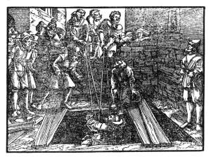 Der von der Gloriole umgebene Prophet Jeremia wird wegen seiner Reden an Seilen in die Schlammgrube hinuntergelassen (Jer. 38,6).